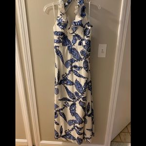 Lilly Pulitzer halter maxi dress blue shells